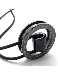 [テメゴ ジュエリー]TEMEGO Jewelry メンズステンレススチールヴィンテージペンダントゴシック言葉刻まラウンドネックレス、調節可能な革ロープ[インポート]