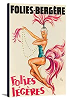 Folies–Bergere–Folies Legeresヴィンテージポスター(アーティスト: O 'kley ) C。1958 12 x 18 Gallery Canvas LANT-3P-SC-64083-12x18