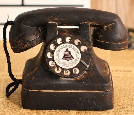 超アンティーク風 レトロな 黒電話型 置物 オシャレ インテリア レトロ雑貨