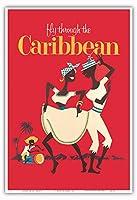 カリブ海を飛ぶ - ビンテージな航空会社のポスター c.1958 - アートポスター - 33cm x 48cm