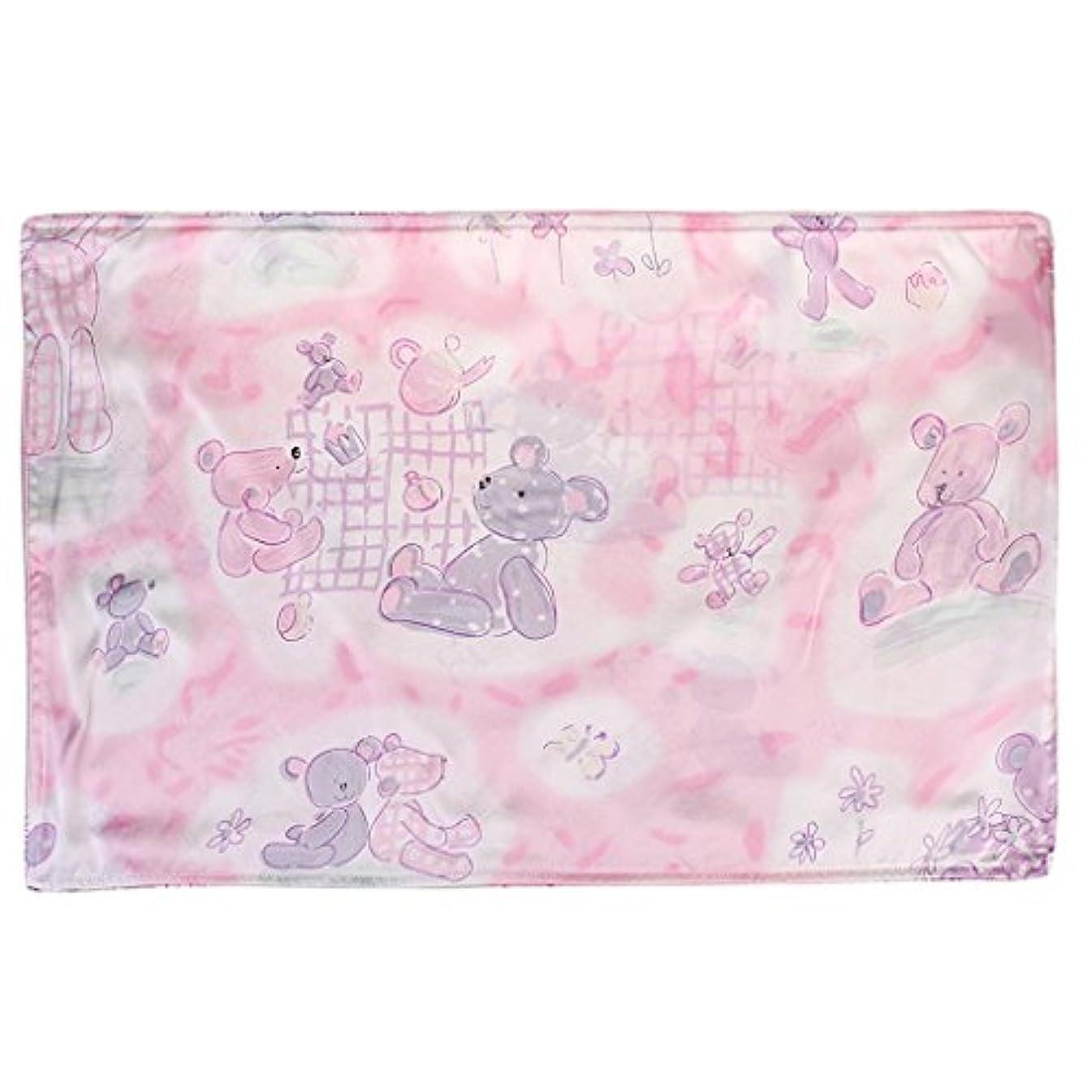 物語ベッドのホストかわいい赤ちゃんキッズ100%シルクサテン両面ピローケース30 * 50センチメートルベアピンク