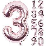 Angel&tribe 番号 0-9 誕生日 パーティー 装飾 ローズ ゴールド ヘリウム 箔 マイラー 大きい 番号 バルーン 101cm/40インチ シャンパン 番号3