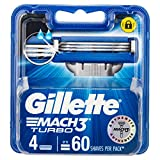 Gillette Mach3 Turbo Razor Cartridges Refill, 4ct