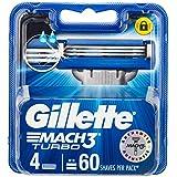 Gillette Mach3 Turbo Men's Razor Blades Refill Cartridges, 4 Pack, Mens Razors / Blades