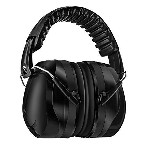 Homitt 防音イヤーマフ 遮音値34dB 聴覚保護 ANSI S3.19&CE EN352-1認証済み 超弾力性ヘッドバンド 軽量 大人・子供兼用 聴覚過敏・射撃 ・仕事・勉強などに適用 ブラック