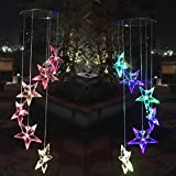 2pcs Wind Chime Lights Color-Changing Solar Star Wind Chimes Spinner Lamp for Party Balcony Patio Decoration