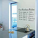 Art Font English Word DIY Wall Decal Stickers Clover Flower Starry Murals Wallpaper Environmentally Removable Wall Art Bedroom Living Room Kids Baby Bathroom Home Decor (Our Kitchen Rules)