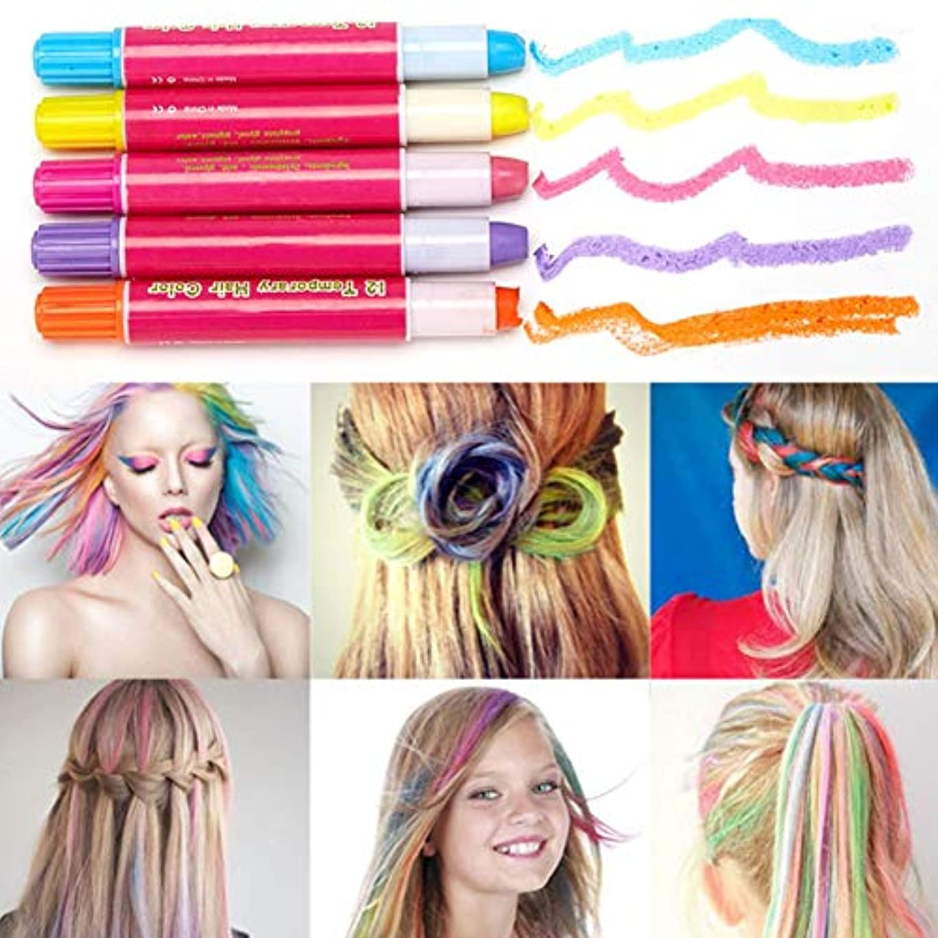 リース生面積ヘアチョーク ヘアチョークペン おしゃれ染め 一時的の髪染め簡易髪染 スティック ヘアダイペン 12色 クレヨンセット Cutelove