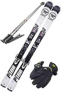 ROSSIGNOL (ロシニョール) スキー4点セット 18-19 PURSUIT 100 ブラック 142cm XPRESS ビンディング/ストック105cm/レディースグローブ付き