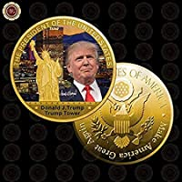 Lily -Prestiges - WR 1 Pc Gold President US Donald Trump Gold Plated Coin USA Trump Tower The Statue of Liberty Collection Business Gift