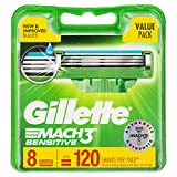 Gillette Mach3 Sensitive Razor Cartridges Refill, 8ct