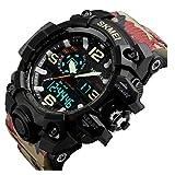 SKMEI メンズ デュアルコア アナログ デジタル表示装置 アウトドアスポーツ 多機能の防水電子時計腕時計SK1155B(ゴールデン)