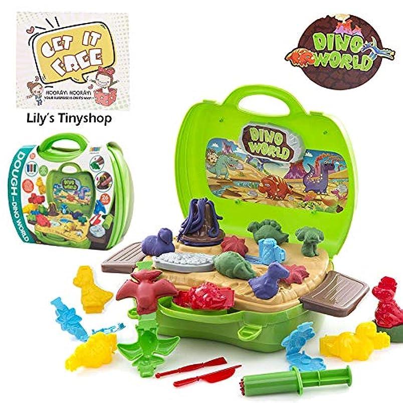 プロテスタント部分的預言者Deardeer 26ピース 恐竜遊びセット 子供用 おままごとおもちゃ 型と粘土付き 男の子用 便利なスーツケース入り