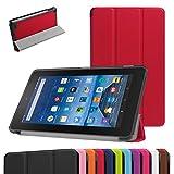 Amazon Fire 7 2015 専用保護ケース 超薄型 高級PUレザー・三つ折 - Amazon Kindle Fire 7インチ2015(第五世代) ディスプレイ専用,レッド