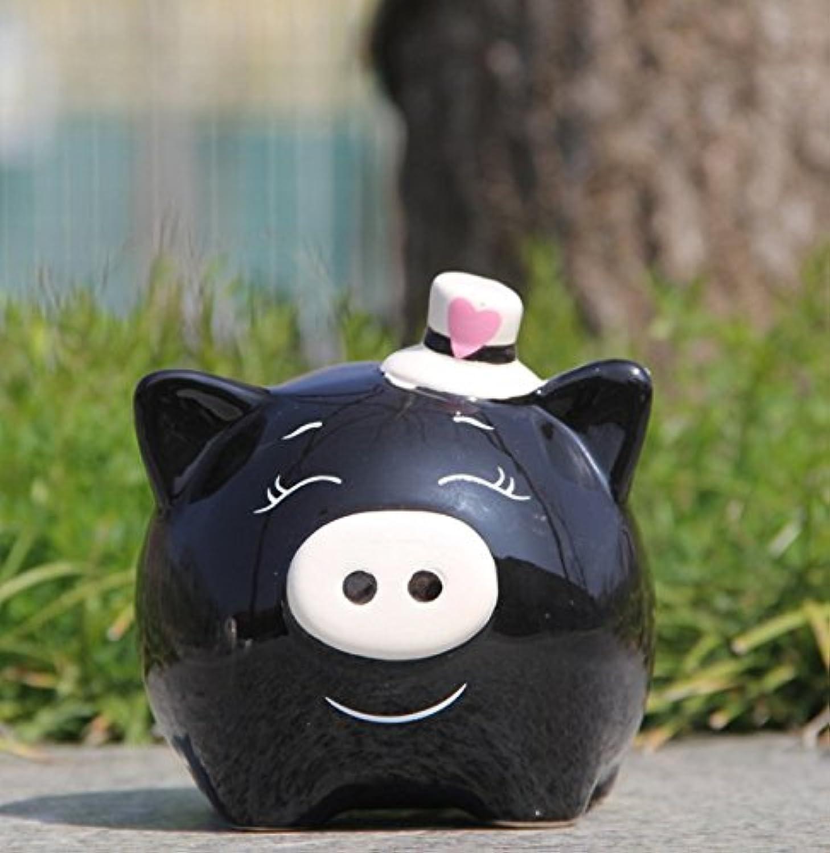マネー バンク 創造的な新年の贈り物紳士の豚のピギーバンク白い釉ホームインテリア(黒)