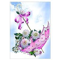 Sunsoar ダイヤモンド絵画 刺しゅうキット クロスステッチ DIY 手作り 5D インテリア プレゼント 装飾 傘 30×40cm