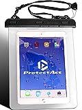 ProtectAct 防水 ケース カバー 日本製 iPad pro Air 用 7 ~ 10 インチ タブレット PC 対応 ネック ストラップ お風呂 透明 ( ブラック )