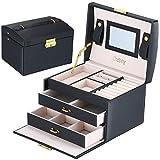 Ondoing 鍵付き ジュエリーボックス 携帯 大容量 アクセサリー 収納ケース コスメボックス 3段タイプ 引出し2段 ブラック JE0002-BK-S
