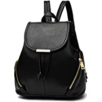 BAIGIO Black Fashion Backpack Soft Leather Schoolbag Girls Casual Day Pack Anti-Theft Shoulder Bag