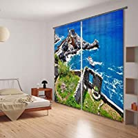 3D窓カーテン高級遮光カーテンリビングルームの寝室用カスタマイズされたサイズドレープコルチナリドークッションカバー-225 cm x 225 cm(90インチx 90インチ)