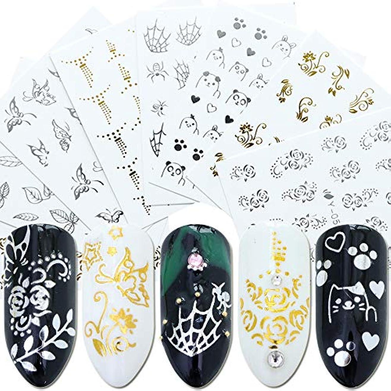参加者マスク共役SUKTI&XIAO ネイルステッカー 30個ネイルステッカー透かしデカールゴールドシルバー幾何スライダータトゥー光沢のあるラップマニキュア接着剤装飾