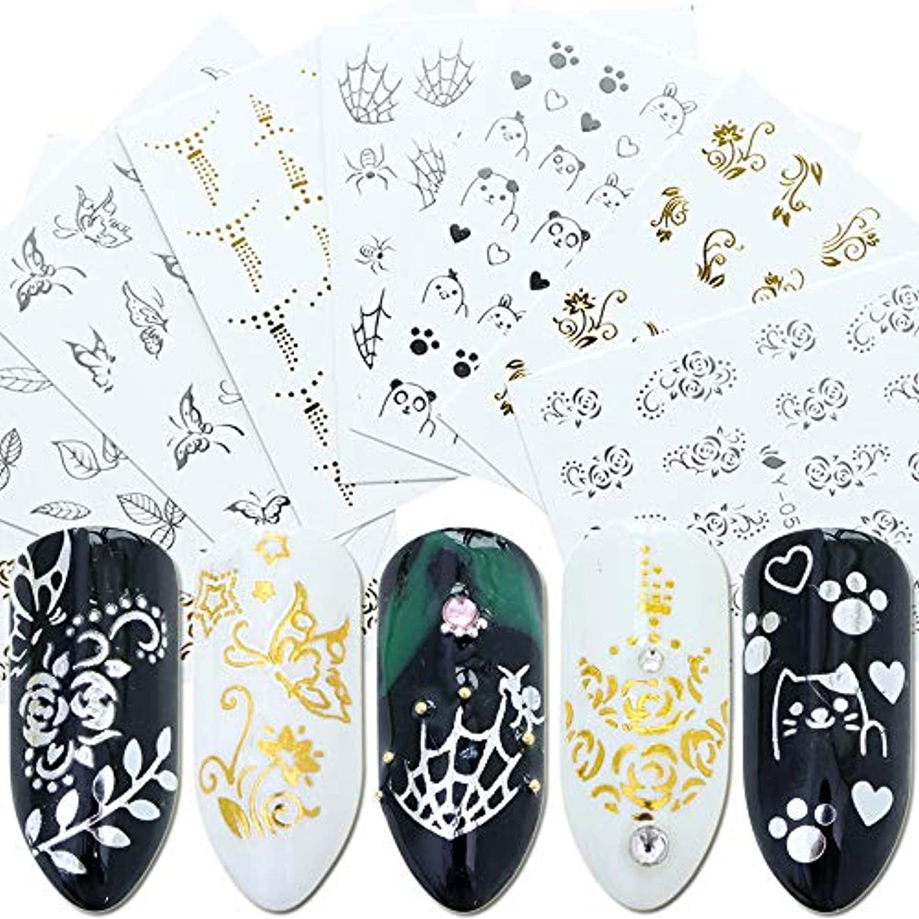 成功上流の程度SUKTI&XIAO ネイルステッカー 30個ネイルステッカー透かしデカールゴールドシルバー幾何スライダータトゥー光沢のあるラップマニキュア接着剤装飾