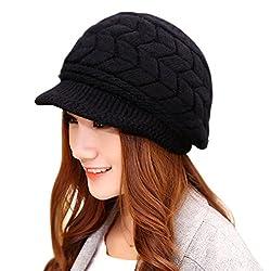 ニット帽子 レディース 厚手 DiDaDi ニット 帽 つば付き 小顔効果 防寒 帽子 ゆったり シンプル カジュアル 秋冬 防寒 キャスケット プレゼントにも