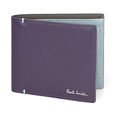 ポールスミス Paul Smith メンズ 二つ折り財布 カードケース 取り外し可能 863488 P936 カラーコントラスト 牛革 レザー 本革 CONTRAST COLOR CARD WALLET ショップ袋 専用箱付 (パープル)