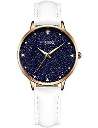 GuTe出品 腕時計 クォーツ レディース 電池付き シンプル 革バンド 星空 ユニーク ネイビー ホワイト 可愛い