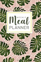 Weekly Meal Planner: 52 Week Food Planner Notebook, Diary, Log for Meal Planning with Grocery Shopping List | Rose Tropical Leaves Pattern