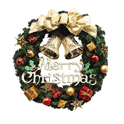 Cozy Maker(C&M)クリスマスリース 玄関 飾り クリスマスオーナメント ドア 窓 インテリアの飾 宴会 屋内 パーティー (ゴールド, 30-35cm)