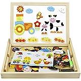 赤ちゃん 幼児 子供用パズル 木製 3歳 4歳 5歳 マグネットボード 絵かきボード 約95ピース 人物 キャラクター 動物