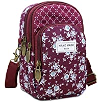 WITERY Multi-Pockets Cell Phone Purse Wallet Flower Pattern Canvas Crossbody Bags Smartphone Wallets for Women Girls