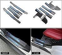 8個フィットfor Mitsubishi Outlander 2013–2017ステンレススチールInnner外部ドアSills Scuff敷居プレートガードトリムプロテクター–ブルー