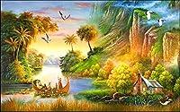 LJJLM カスタム壁画不織布壁ステッカー3dヨーロッパ山の風景画写真3d壁部屋壁画壁紙-260X180CM