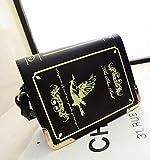 【ノーブランド】 アンティーク 洋書風 おしゃれな ブック型 ショルダーバッグ (ブラック)