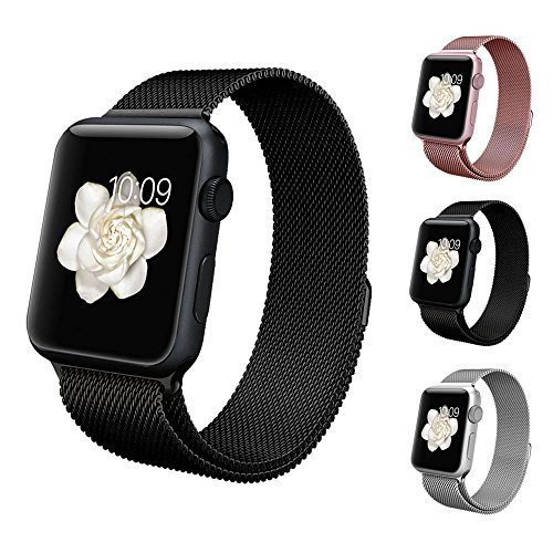 BRG apple watch バンド,ミラネーゼループ アップルウォッチバンド アップルウォッチ1 apple watch series 2 ステンレス留め金製(42mm,ブラック)18ヶ月保証付き