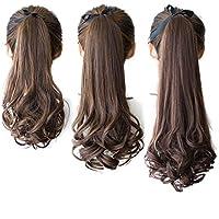 DEEKA ポニーテール ウィッグ エクステ ロング ふわふわ巻き髪 耐熱 長さ35cm/45cm/55cm 4色選び つけ毛