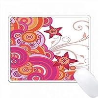 オレンジとピンクの重なり合った星の花のサークル PC Mouse Pad パソコン マウスパッド