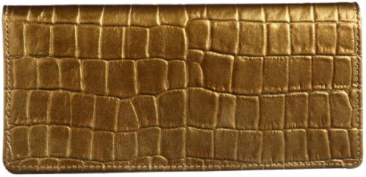 日帰り旅行に決済消費[ティサンド] Tsand Tsand ワニ型押しゴールド無双長財布
