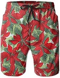 赤花柄 メンズ サーフパンツ 水陸両用 水着 海パン ビーチパンツ 短パン ショーツ ショートパンツ 大きいサイズ ハワイ風 アロハ 大人気 おしゃれ 通気 速乾