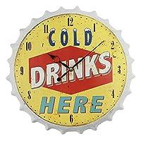 鉄のソーダのビンの王冠の形の壁時計のデジタル無言の壁時計のホテルの装飾