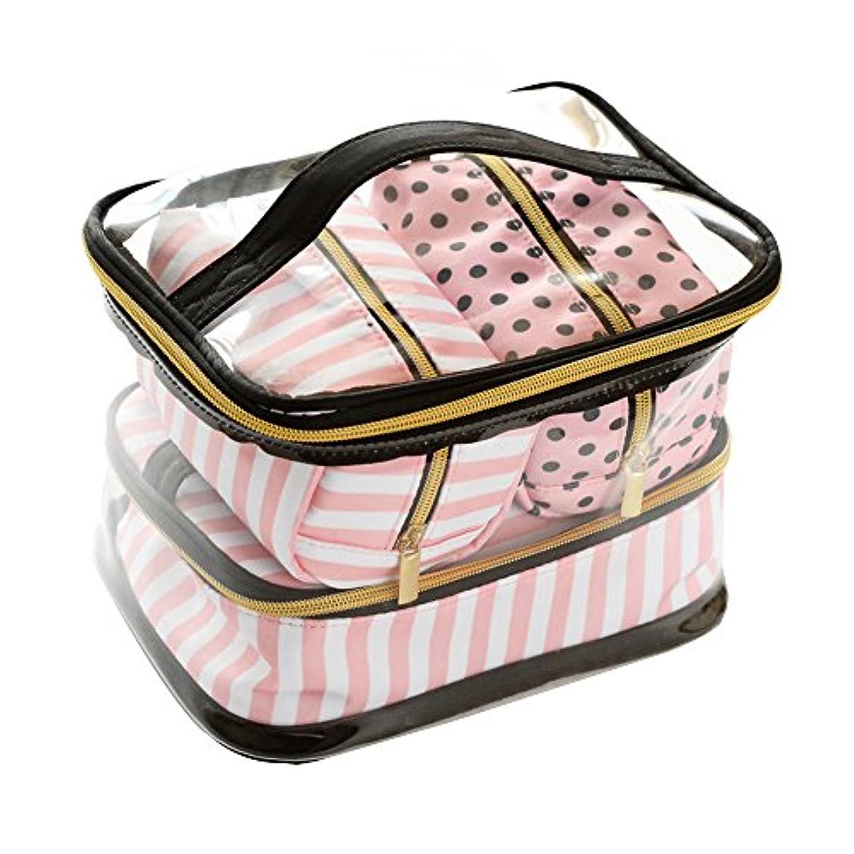 大きさ法的パン化粧バッグ 化粧ポーチ レディース ビクトリアシークレット人気 機能的 かわいい おしゃれ透明 洗面バッグ 収納バッグ 4点セット ビクトリア ドット ピンクライン