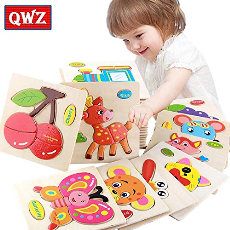 2019年の最新QWZ 赤ちゃんのおもちゃ木製パズルかわいい漫画の動物の知能子供教育頭の体操子供タングラム形状ジグソーパズルギフト