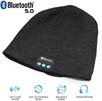 Bluetooth Beanie Hat,Wireless V5.0 Superior Music Skully Beanie Hat Washable Knitted Cap with Headphone Headset Earphone...