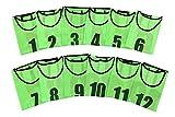 ユニフォーム ベスト ビブス 1番?12番 12枚入り サッカー フットサル ネオンカラー グリーン