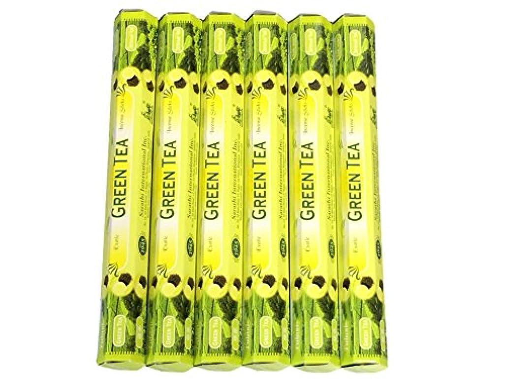 上下するセンブランス冷ややかなTulasi グリーンティー(GREEN TEA)香 スティック 6角(20本入り)×6箱 HEXAPACK