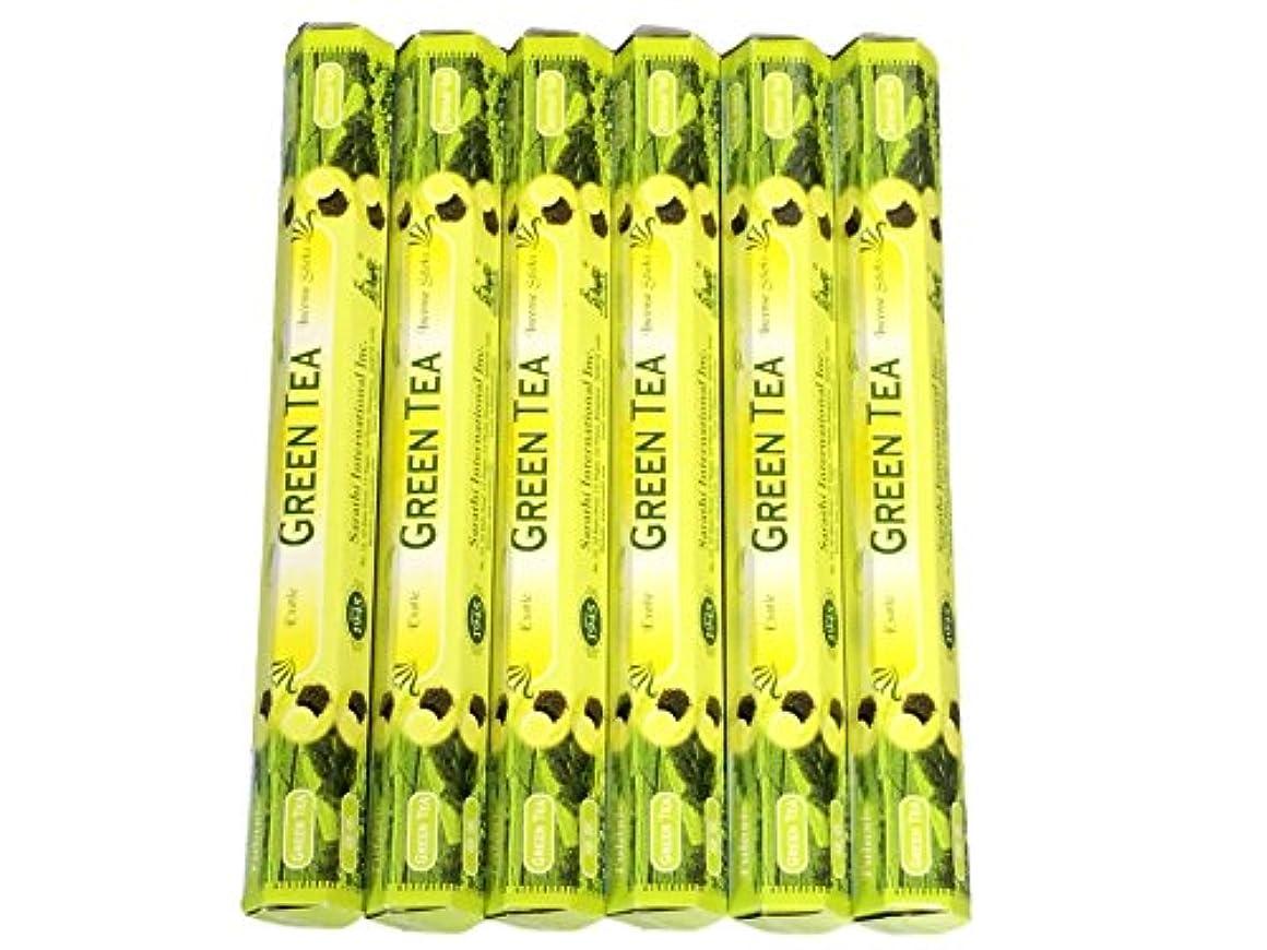 フラッシュのように素早くバドミントン守銭奴Tulasi グリーンティー(GREEN TEA)香 スティック 6角(20本入り)×6箱 HEXAPACK