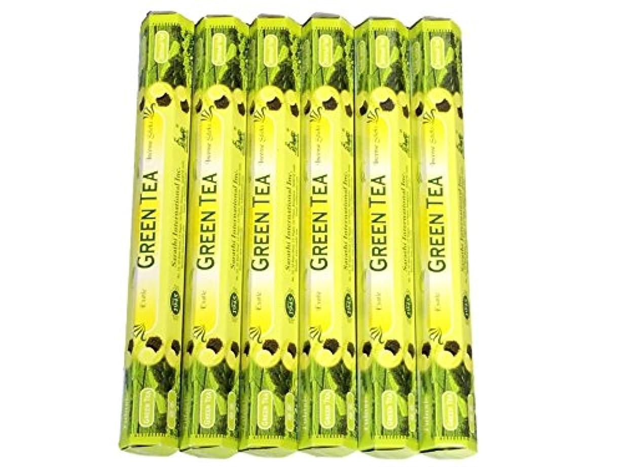 名誉同意するお風呂Tulasi グリーンティー(GREEN TEA)香 スティック 6角(20本入り)×6箱 HEXAPACK