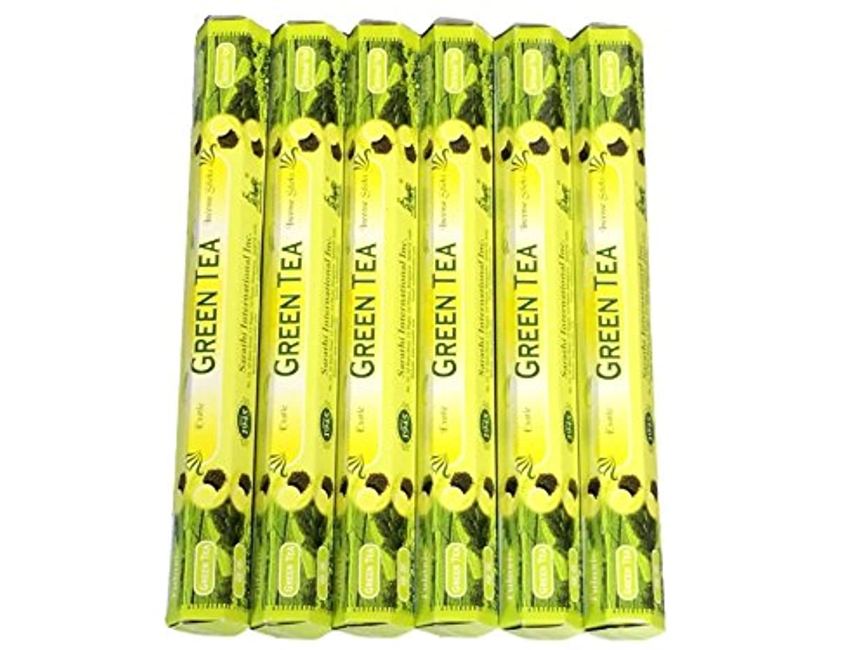 警官フェード退院Tulasi グリーンティー(GREEN TEA)香 スティック 6角(20本入り)×6箱 HEXAPACK